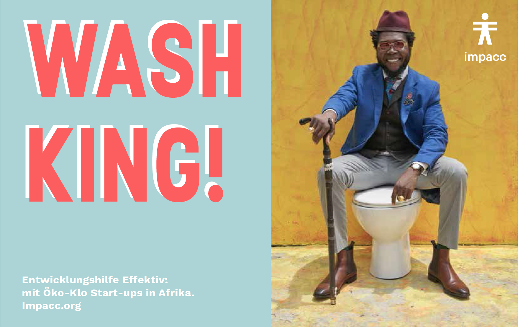 Impacc advertising image of a man sitting on a closed toilet